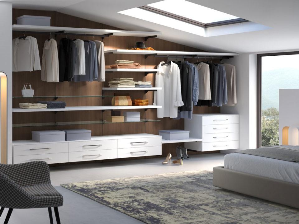 Cabina armadio, cabina armadio con ripiani, cassettiera sospesa, tubo appendiabiti, galm design