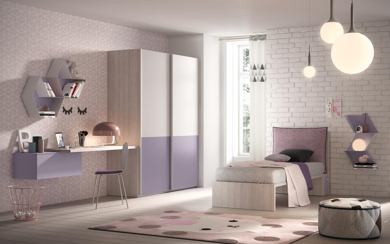 Cameretta con armadio scorrevole, pensili in lamiera sagomata, cuscino del letto asportabile, cassetto del comodino integrato nel letto, galm design