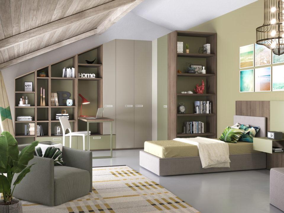 Cameretta per bambini, armadio ad angolo, maniglia incassata, libreria incassata al sottotetto, galm design