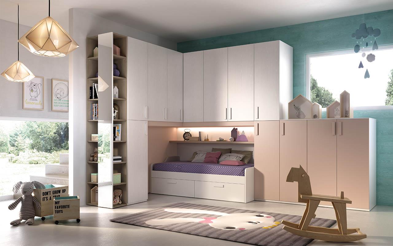 cameretta per bambini, divano letto con cassettoni estraibili, armadio modellato, galm design