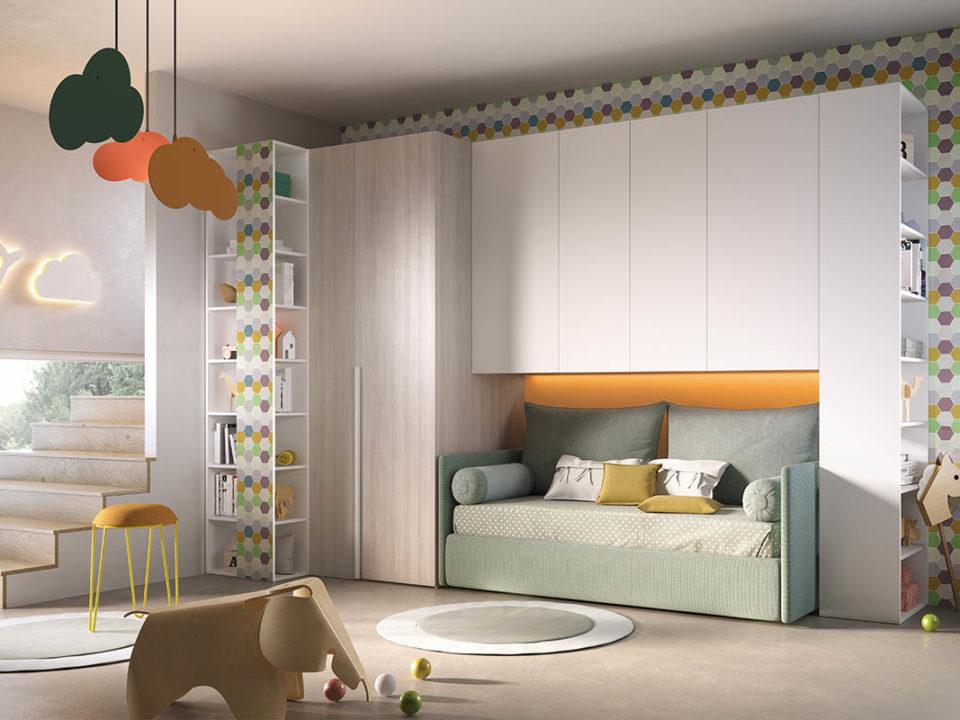 cameretta per bambini, divano letto imbottito, rete estraibile, mensole, galm design