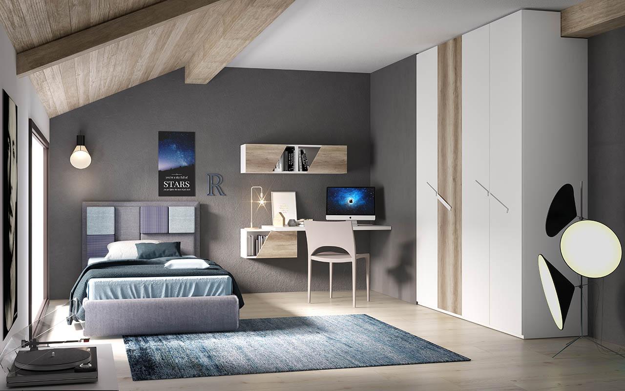 Cameretta, cameretta per ragazzi, scrivania sospesa, letto contenitore, scasso per trave, galm design