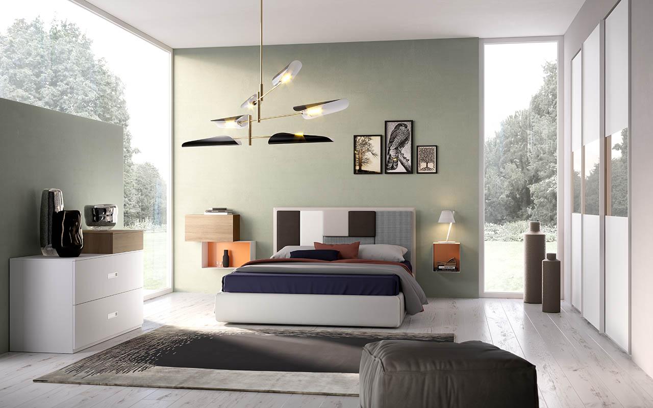 Camera da letto, camera matrimoniale, armadio con aperture push-pull, comodini in lamiera, testata del letto, cuscini asportabili, galm design
