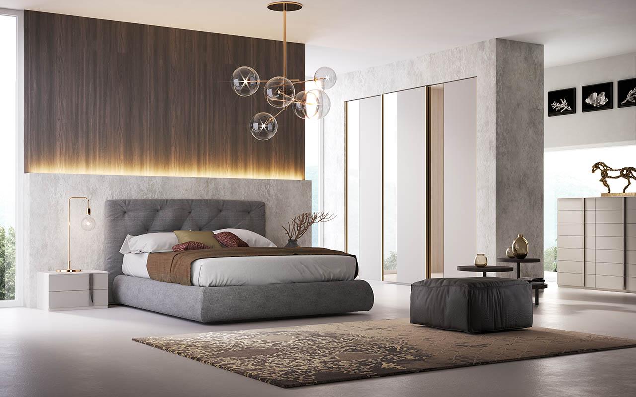 Camera da letto, camera matrimoniale, armadio scorrevole, letto matrimoniale imbottito, cucitura capitonné sfalsata, comodini, settimino, galm design