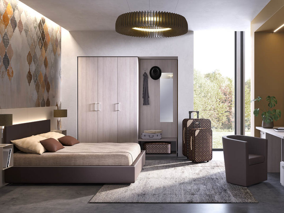 Arredo per residence, comodini sospesi, scrivania, giroletto, galm design