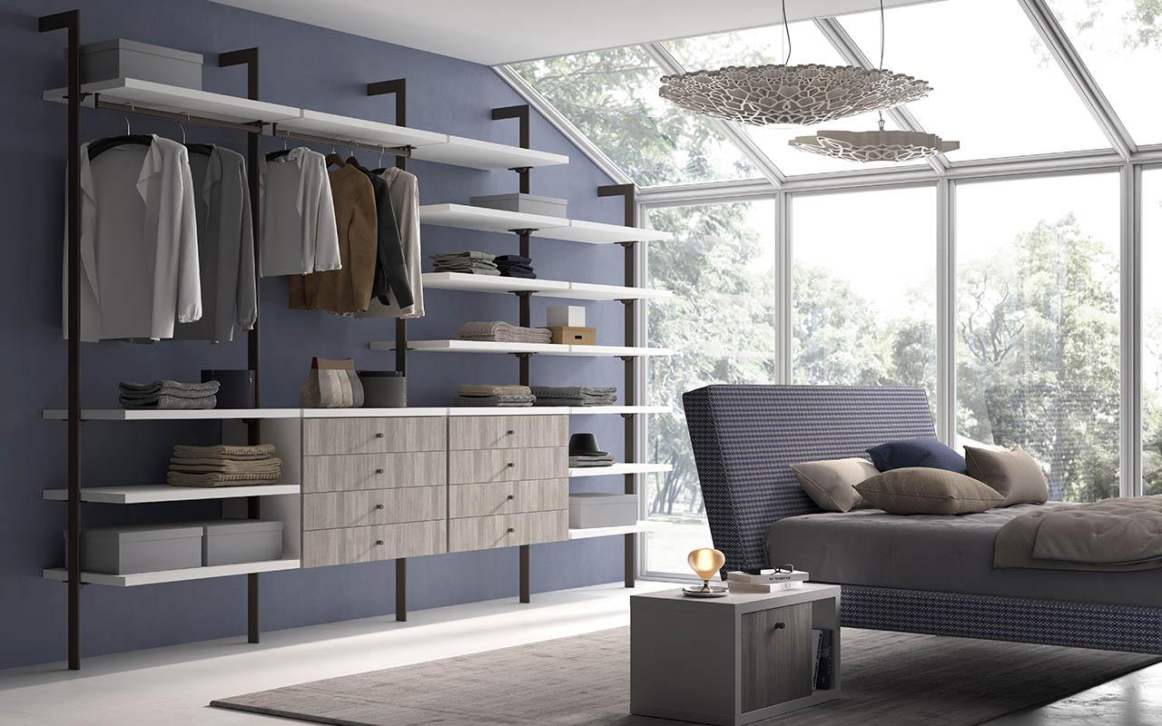 Cabina armadio, cassettiera sospesa, galm design